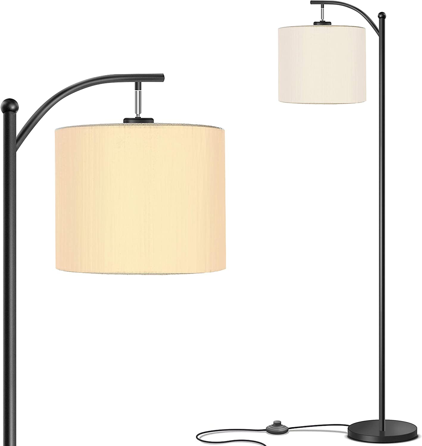 Addlon Floor Lamp for Living Room with Lamp Shade and 9W LED Bulb - Modern Standing Lamp - Floor Lamps for Bedrooms-Black
