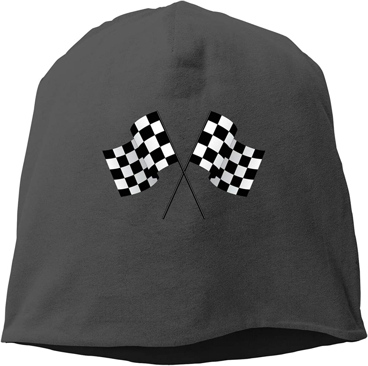 Checkered Flags Race Car Flag Skull Cap Helmet Liner Beanie Cap for Men Hip Hop Hedging Head Hat