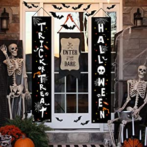 Halloween Decorations Outdoor ,Trick or Treat & Halloween Signs for Front Door or Indoor Home Decor, Halloween Welcome Signs with 28 PCS 3D Decorative Scary Bats Sticker for Halloween Party Decors