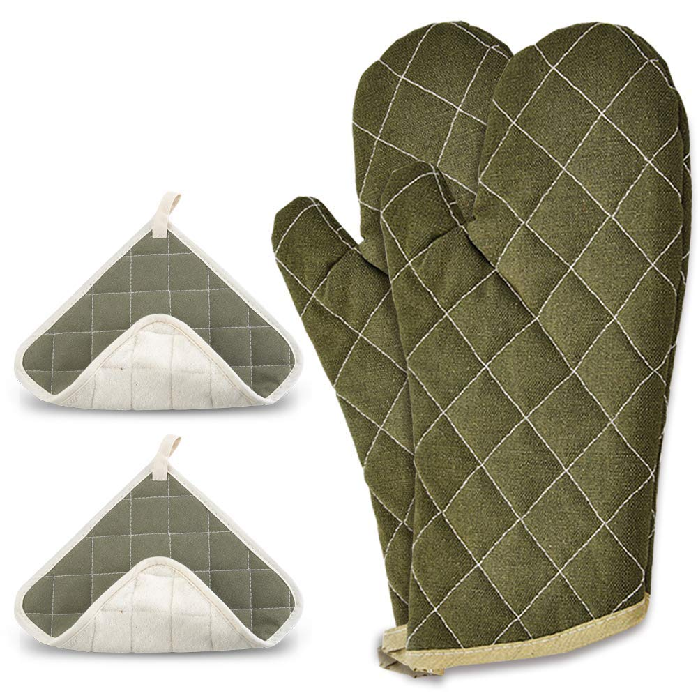 Pot Holders and Oven Mitts, Oven Mitt is Heat Resistant 400 Degrees – 100% Cotton, Hot Pads One Side Fire Retardant Other Terrycloth, Safe for Baking, Cooking, BBQ, (Green) 4 Piece Set.