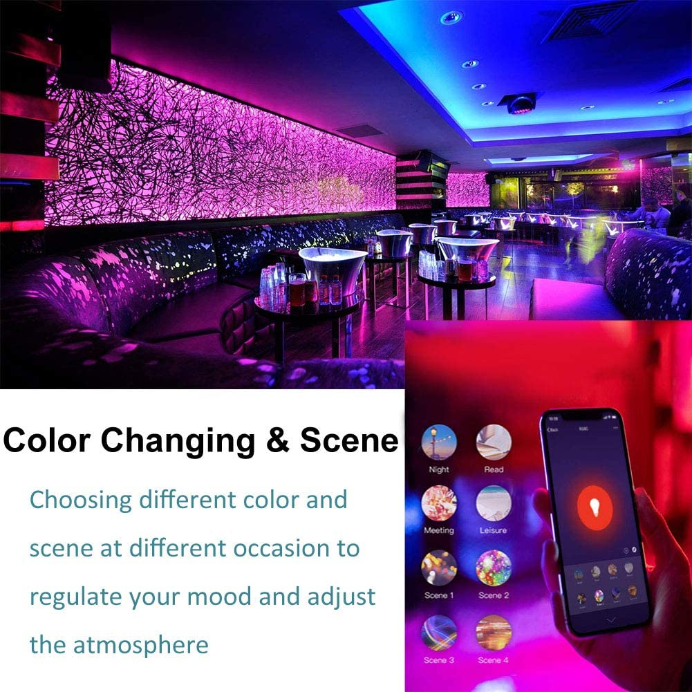 Boaz Smart LED WiFi Recessed Lighting 4 inch Ceiling Downlight Voice Control Light Bulb via Alexa Google Assistant Siri RGBW Multicolor Color Changing Drywall Recessed Ceiling Downlight No Hub