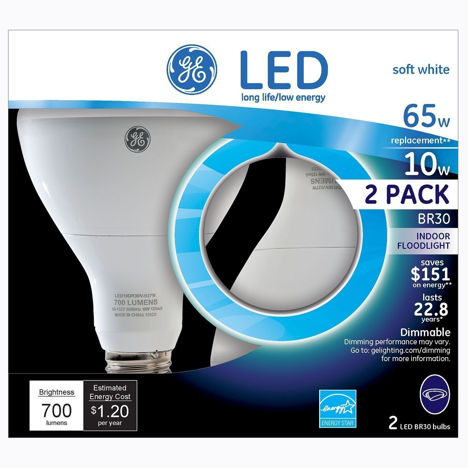 GE LED BR30 Indoor Floodlight Bulb (2 pk.) - Energy Star Certified