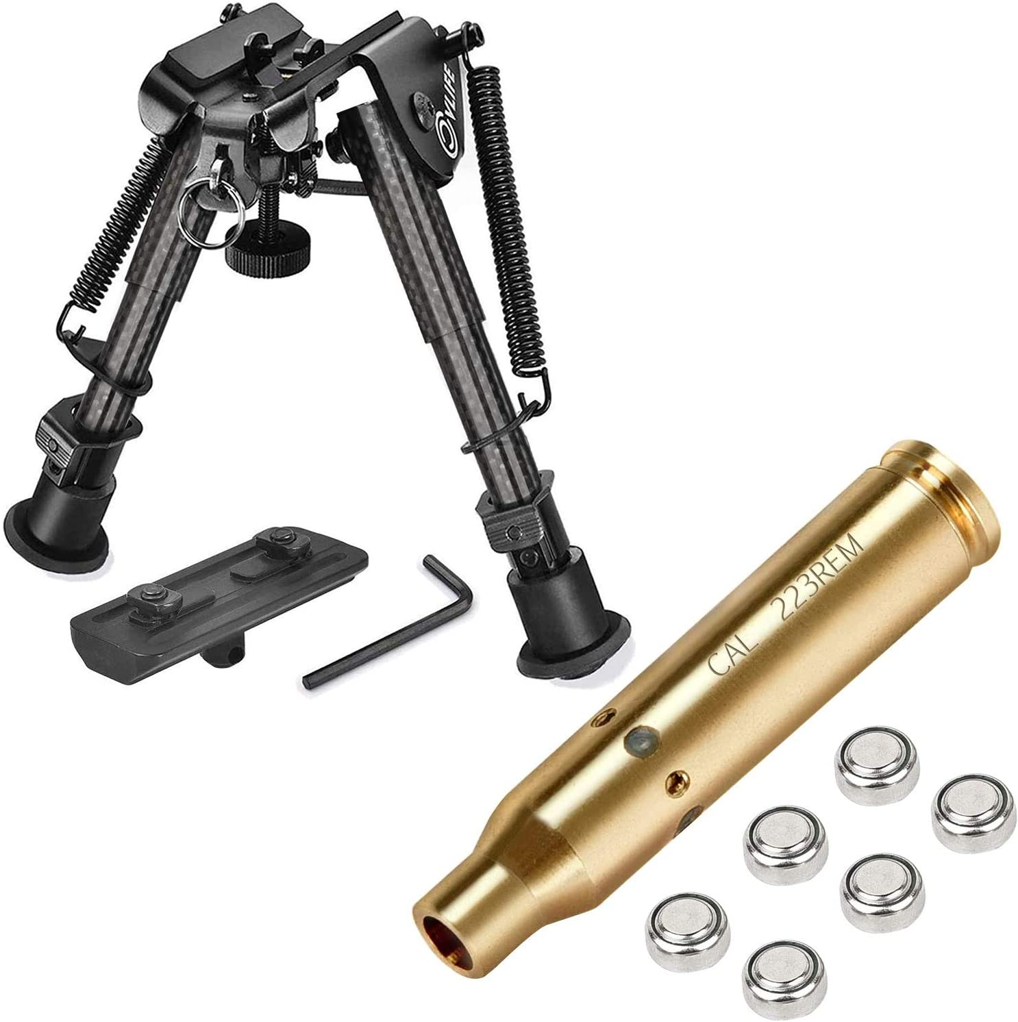 CVLIFE 6-9 Carbon Fiber Bipod with Bore Sight Cal 223 5.56mm Rem Gauge Red Dot Boresighter with Two Sets Batteries