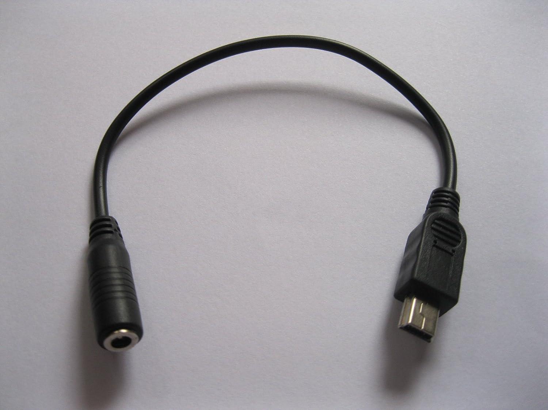 100 Pcs USB Mini 5pin Male to 3.5x1.35mm DC Power Jack Female Black Cable 20cm Skywalking