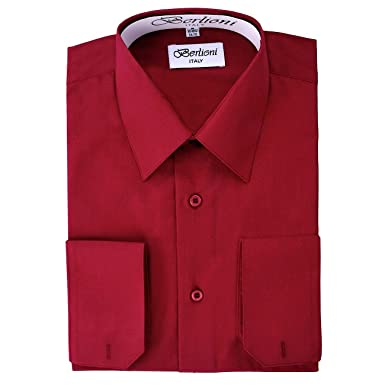 Elegant Mens Button Down Burgundy Dress Shirt at Amazon Men's ...