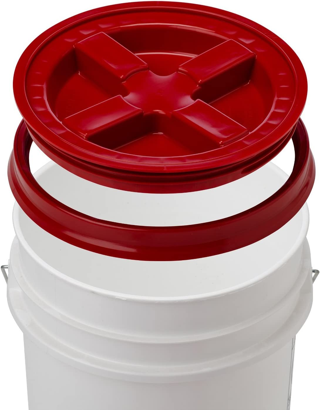 5 Gallon White Bucket & Gamma Seal Lid - Food Grade Plastic Pail & Gamma2 Screw Seal Tight Lid (Red)
