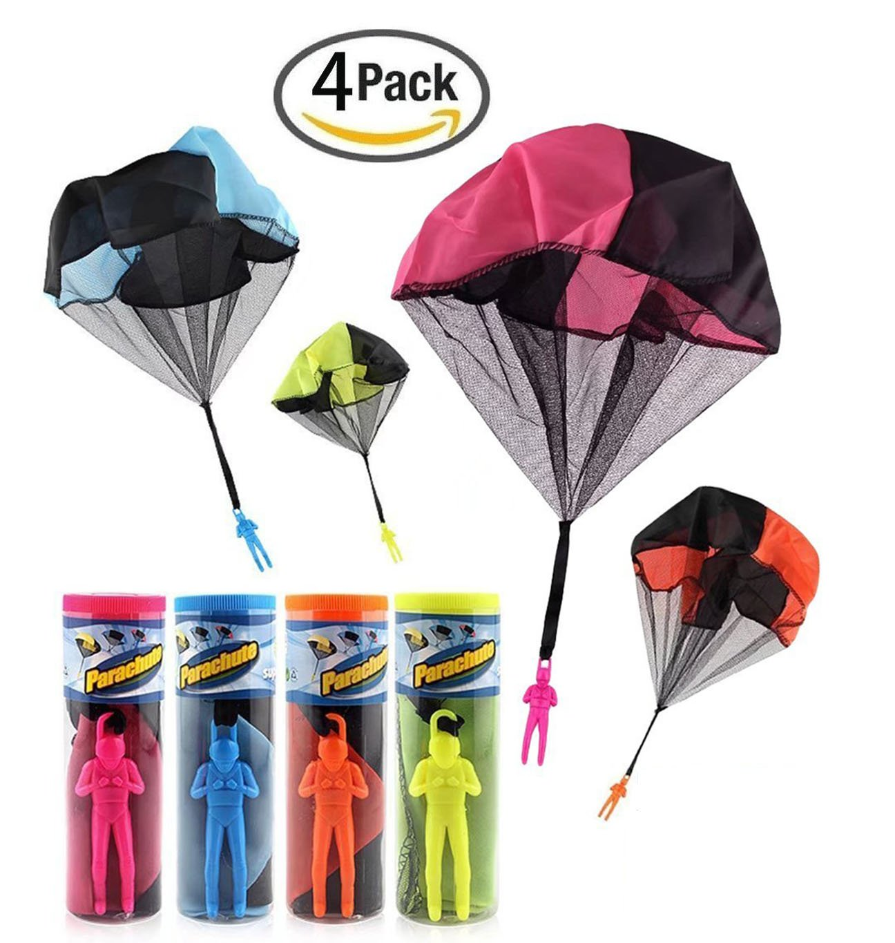 Mcgreen 4PCS Mini Parachute Toy Tangle Free Throwing Soldier Parachute Toy Men Outdoor Play Game Toy