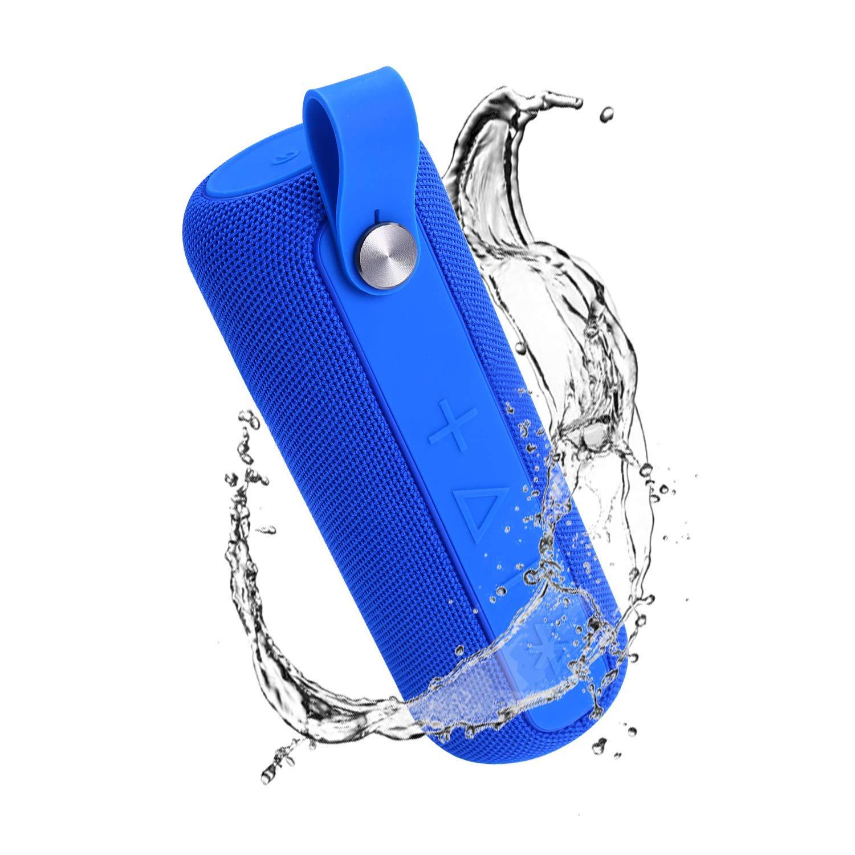 ポータブルBluetoothスピーカー Bluetooth 5.0付き ワイヤレススピーカー HDステレオサウンド 12W ドライバ リッチな低音 内蔵マイク 70フィート Bluetooth範囲 14時間再生 IPX5 防水 キャンプ ビーチ ブルー  ブルー B07JLSS1NT