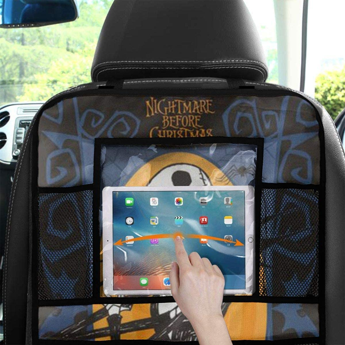 AGnight 2 Pack Backseat Car Organizer Kick Mats Back Seat Protector with Increased Tablet Holder Nightmare Before Christmas Car Accessories