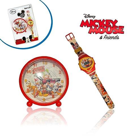 Reloj + Despertador infantiles con motivo de MICKEY MOUSE / Perfecto regalo – DISNEY WD10436 mws1731