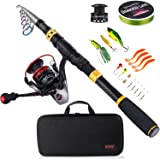Sougayilang Fishing Rod Combos with Telescopic Fishing Pole Spinning Reels Fishing Carrier Bag for Travel Saltwater Freshwate