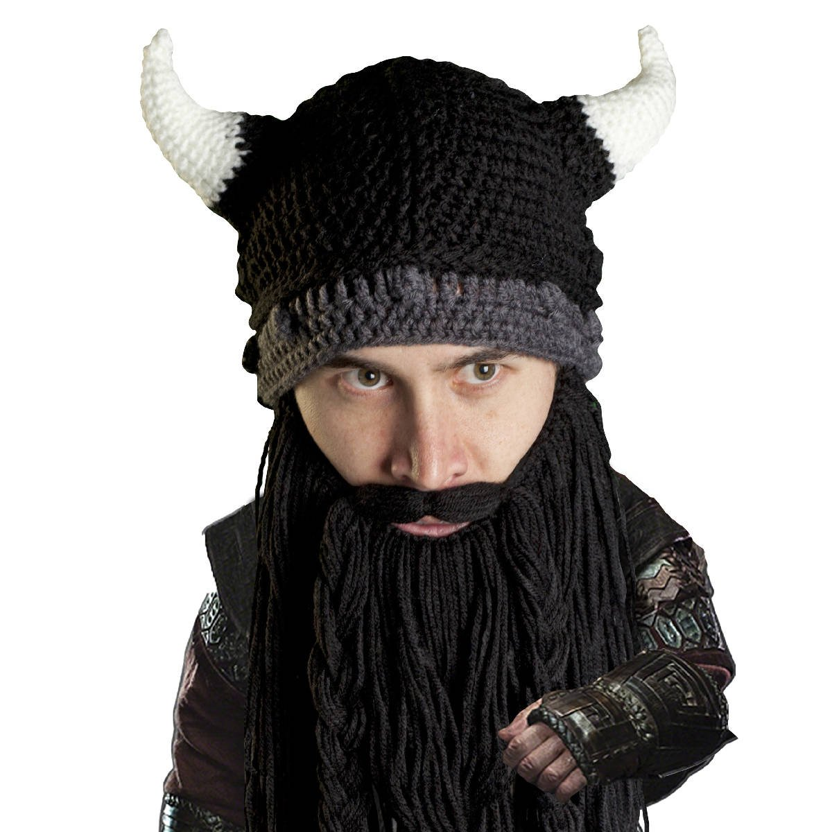 Amazon.com  Beard Head Viking Pillager Beard Beanie - Funny Knit Horned Hat  and Fake Beard Black  Clothing 5ee5ca0b9f2