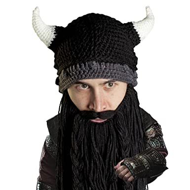 Amazon.com  Beard Head Viking Pillager Beard Beanie - Funny Knit Horned Hat  and Fake Beard Black  Clothing a5036bfc0fa