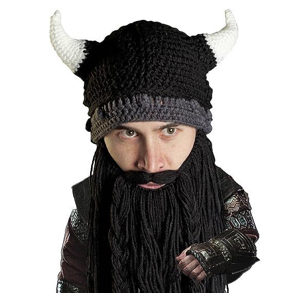 Beard Head Viking Pillager Beard Beanie - Funny Knit Horned Hat and Fake  Beard 4ed9298e57a