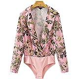 FJ-Direct Women Floral Paisley Pattern Long Sleeve Elastic Waist Playsuit Vintage Casual Tops