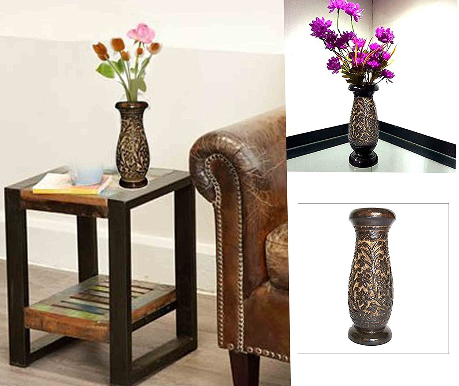 WhopperOnline Wooden Flower Vase Carving Work, Flower Vase Outdoor, Flower Vase For Dining Table, Wooden Handmade Flower Vase, Black Color Beautifully Crafted 8 X 3 Inch