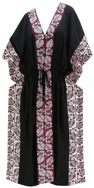 TALLA ES TAMAÑO: 42 (L) - 52 (2XL). LA LEELA Mujeres caftán Rayón túnica Sólido Plain Kimono Libre tamaño Largo Maxi Vestido de Fiesta para Loungewear Vacaciones Ropa de Dormir Playa Todos los días Cubrir Vestidos X