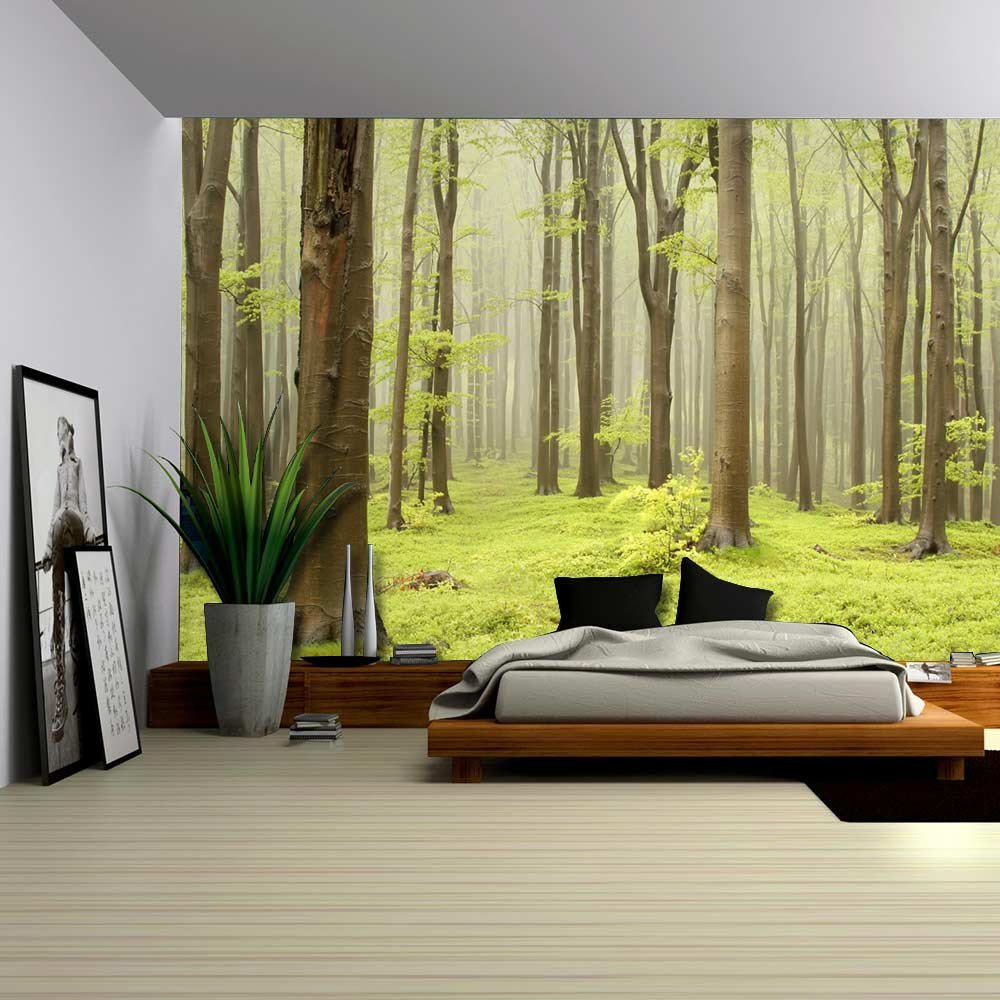 amazon com wall26 green misty forest mural wall mural amazon com wall26 green misty forest mural wall mural removable sticker home decor 66x96 inches home kitchen