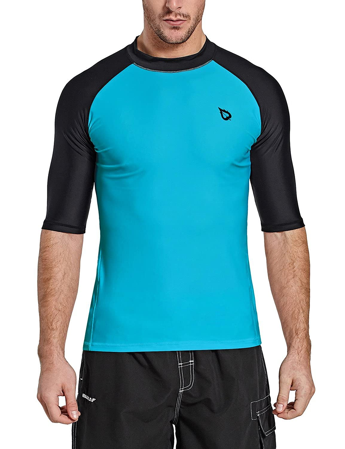 Baleaf Mens Short Sleeve Rashguard Swim Shirt UV Sun Protection UPF 50+