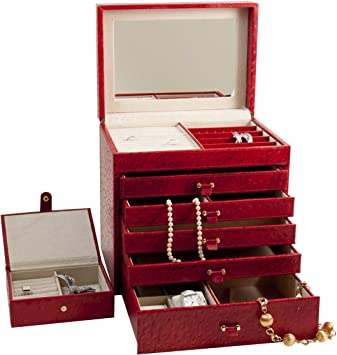 Amazoncom Jewelry Box Color Red Leather Home Kitchen
