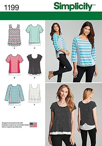 Amazon Simplicity Creative Patterns 1199 Knit Tops For Miss And