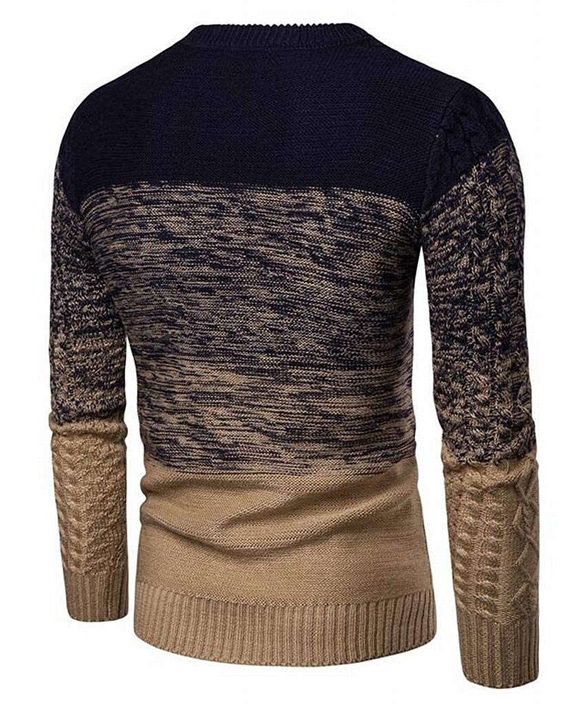 Teapolity Mens Knit Contrast Long Sleeve Casual Round Neck Slim Fit Pullover Sweater