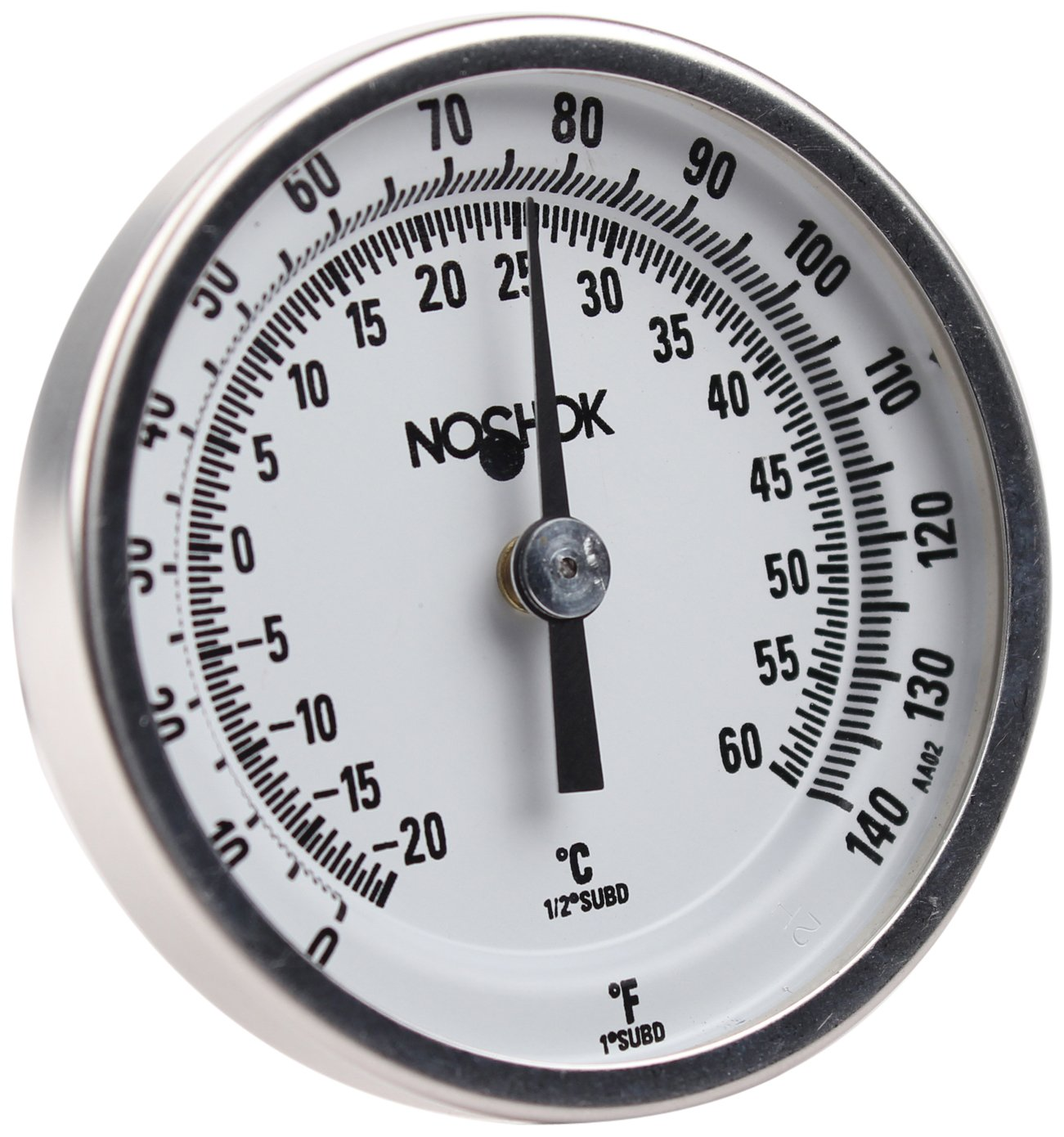 NOSHOK 100 Series 304 Stainless Steel Dual Scale Bi Metal Thermometer with Back Mount, 2-1/2'' Stem, 1/4'' NPT Connection, 2'' Dial, 0-140 F Temperature Range