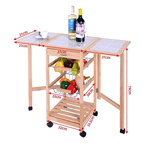 Carro cocina de servicio de Madera y mesa azulejo para con 6 ruedas natural