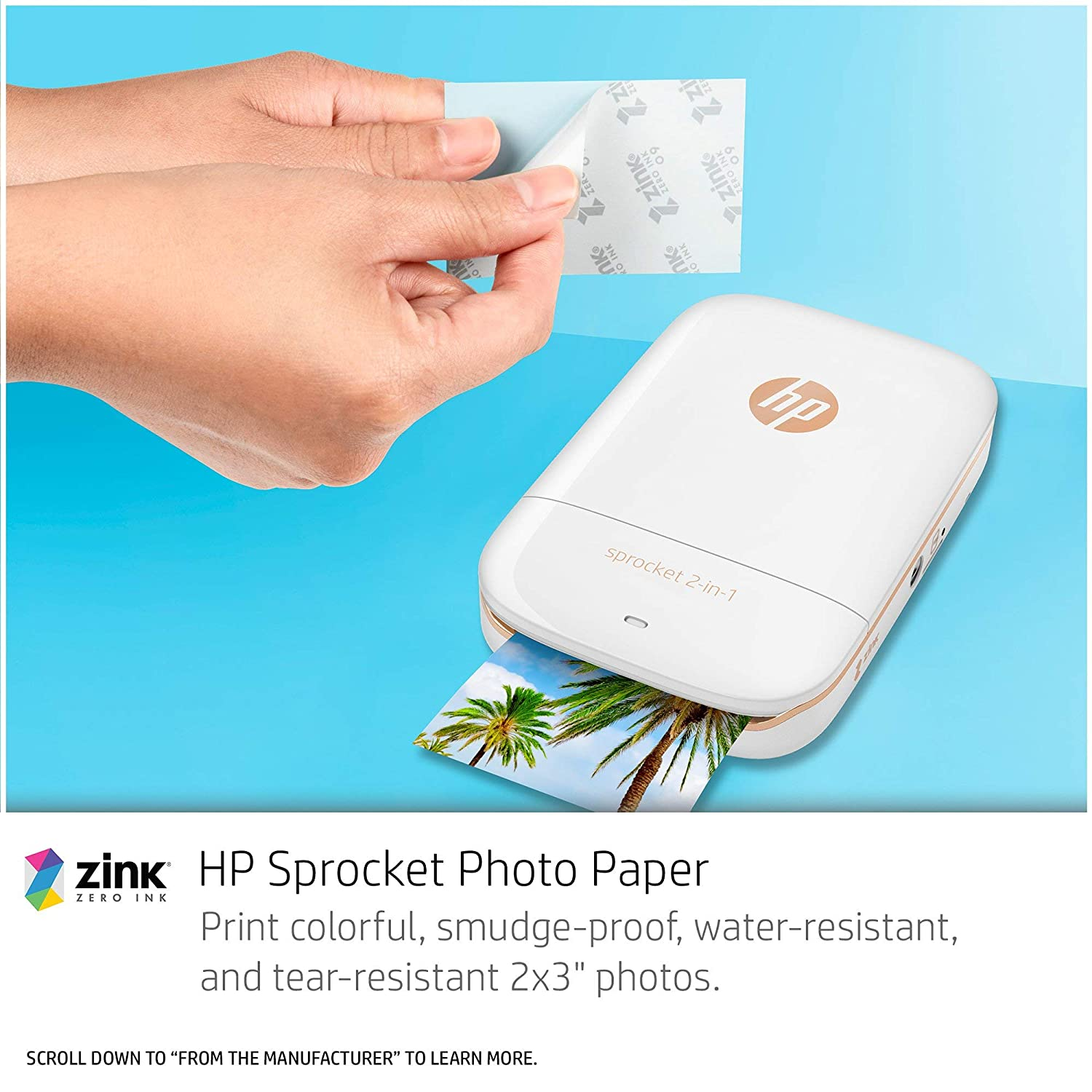 Amazon.com: HP Sprocket 2 en 1 Impresora de fotos portátil y ...