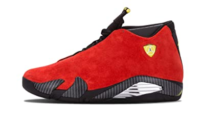 Nike Mens Air Jordan 14 Retro Ferarri Chilling RedBlackVibrant Yellow  Suede Athletic