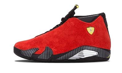 Nike Mens Air Jordan 14 Retro Ferarri Chilling Red/Black-Vibrant Yellow  Suede Athletic