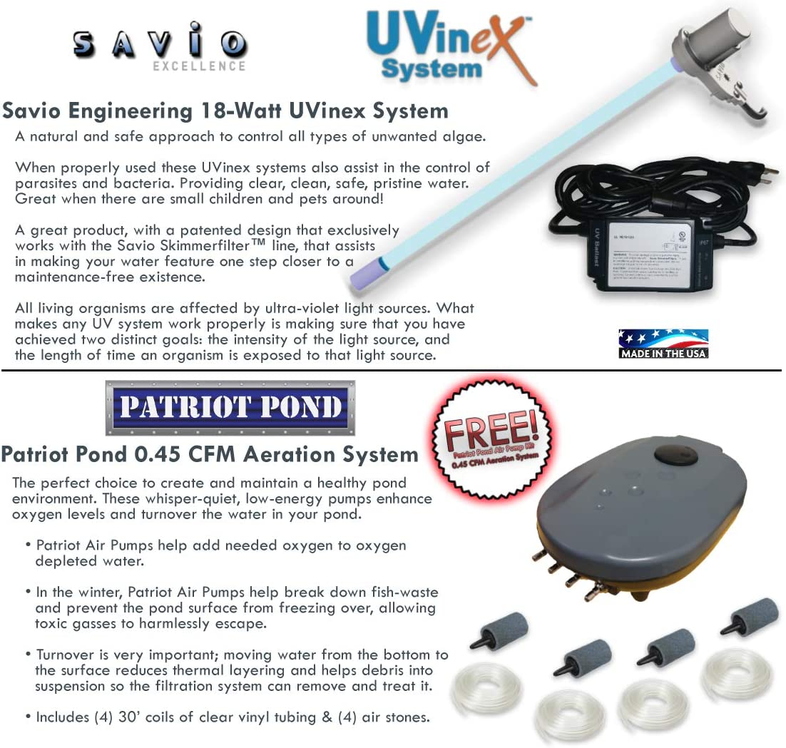 PVCMDSUV4 HALF OFF PONDS Compact Skimmer 22 Waterfall 4,100 GPH Pump 15 Foot x 25 Foot PVC Liner Savio Signature 4100 with UV Complete Water Garden and Pond Kit with Aeration System