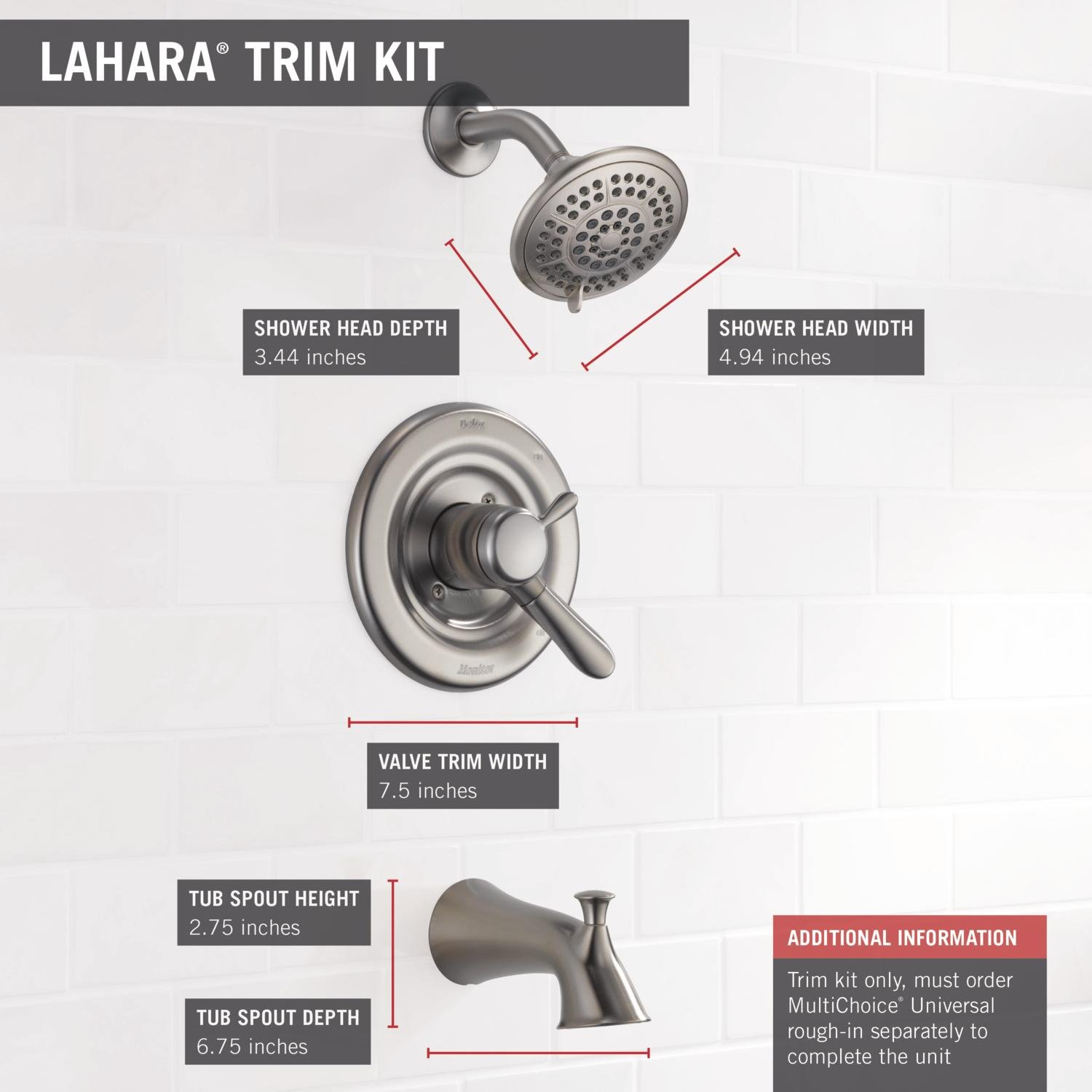Delta Faucet T17438 SS Lahara Monitor 17 Series Tub And Shower Trim,  Stainless   Shower Installation Kits   Amazon.com