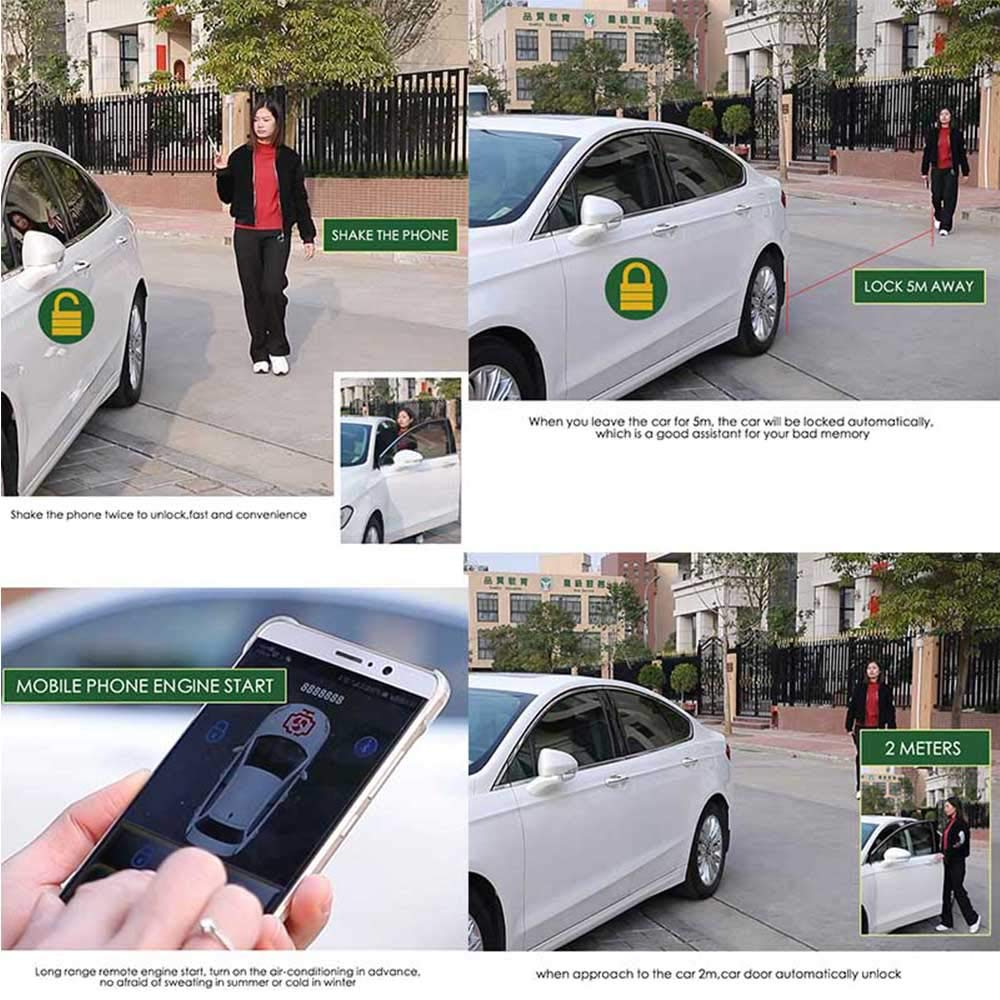 Unlock Car With Phone >> Auto Smartphone Remote Control Locking Kit Smart Key 2 Way Lgnition Trunk Control Unlock Shaking Hand Mobile Phone App Keyless Entry Car Alarm System