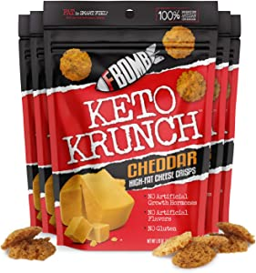FBOMB Cheese Crisps 6 Pack: Crunchy, Oven Baked Keto & Low Carb Snack | 100% Natural, Premium Artisan Cheese, High Protein, Gluten Free Keto Snack | Cheddar 6 Pack