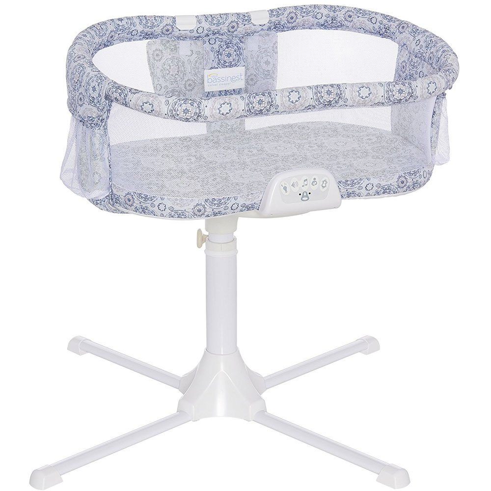 Halo - Swivel Sleeper Bassinet - Luxe Series - Blue Medallion with Grey Fitted Sheet by Halo (Image #2)