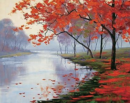faim paintings canvas print of landscape art autumn leaves