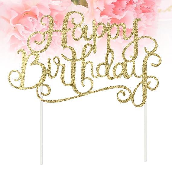 bestonzon 10pcs Happy Birthday Cake Topper cumpleaños decoración tarta fiesta cumpleaños (Oro)