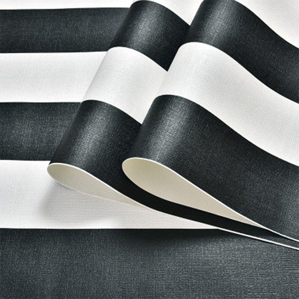 papel pintado no autoadhesivo 0,53 x 10 m dise/ño de rayas blancas y negras dormitorio estudio restaurante para sala de estar tienda Papel pintado no tejido