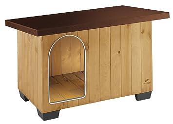 Feplast 87015000 Caseta de Exterior para Perros Baita 80, Robusta Madera Ecosostenible, Pies de