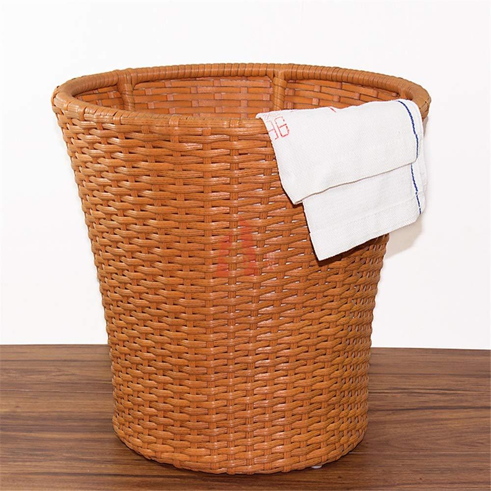 ミューズ収納バスケット製織 籐のランドリーバスケット、手作りの家庭用品ベッドルームバスルームストレージプラスチックハンパー 汚れた服 B07KLQBZ2Q