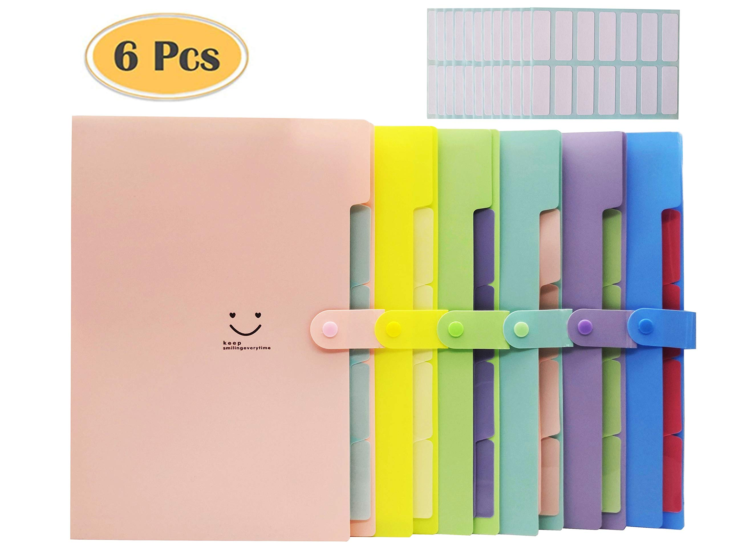 Expanding File Folders Organizer,6 Pieces with 5 Pockets Plastic Letter A4 Size Accordion File Organizer for School and Office,with 168 Pcs File Folder Labels by VicPow