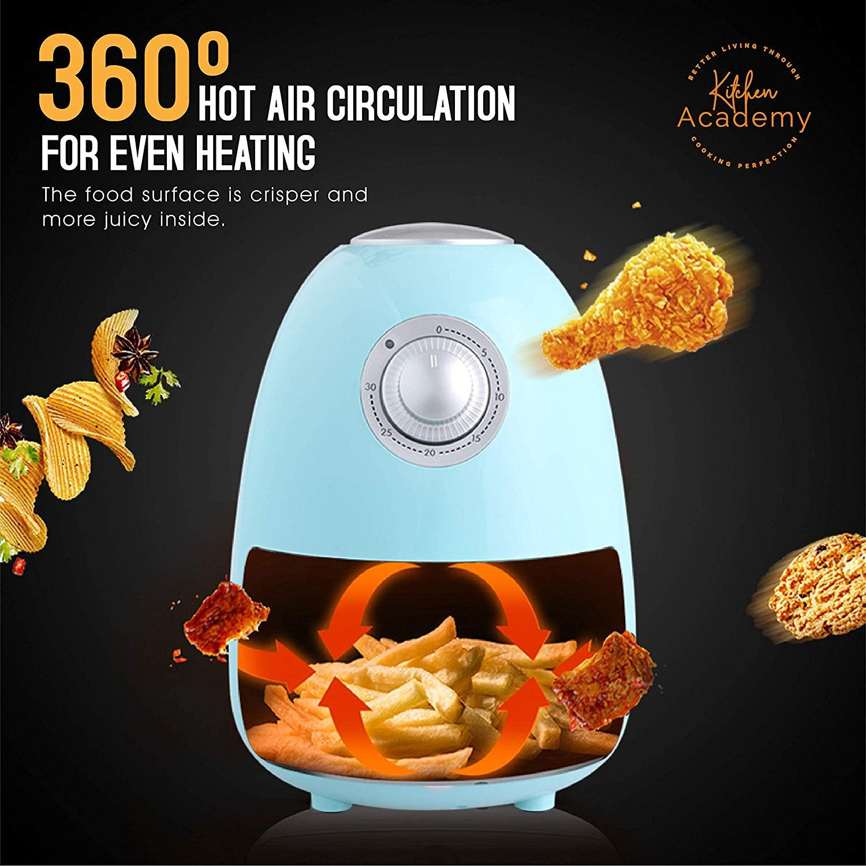 Kitchen Academy 1.8 QT Electric Air Fryer - Aqua Blue Non Stick Air Fryer