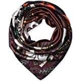 Large Square Satin Silk Like Lightweight Scarfs Hair Sleeping Wraps for Women Coffee Ethnic Floral Pattern