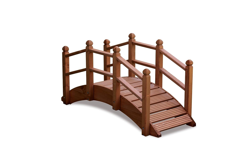 AFK Hand Crafted Wooden Garden Oriental Bridge 122cm: Amazon.co.uk ...