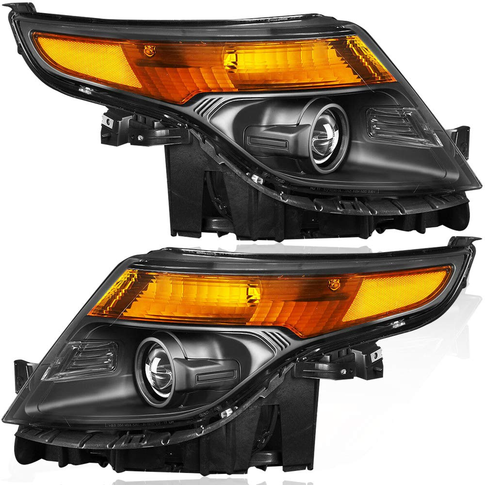 BRYGHT For 2011 2012 2013 2014 2015 Ford Explorer Projector Headlights Assembly Replacement Amber Corner Driver Passenger Side