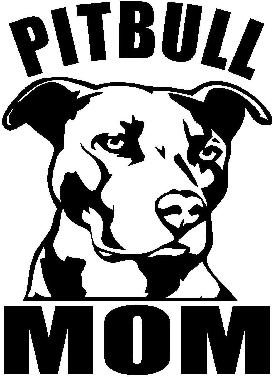 "PITBULL MOM 6"" Tall Die Cut Decal Sticker for Laptop Car Window Tablet Skateboard - BLACK"