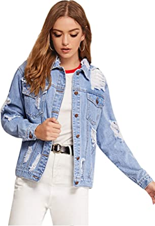 Floerns Womens Classic Button Up Denim Jean Jacket with Pockets