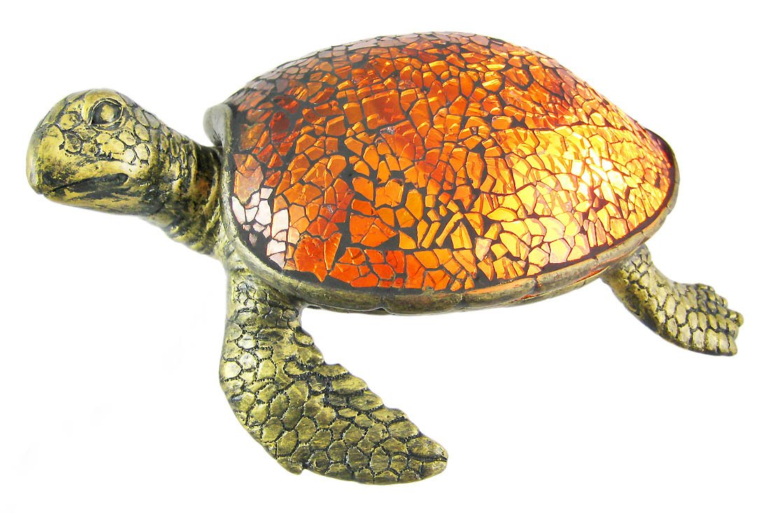 Resin And Glass Accent Lamps Cute Mosaic Amber Glass Sea Turtle Accent Lamp 8 X 3 X 6 Inches Silver