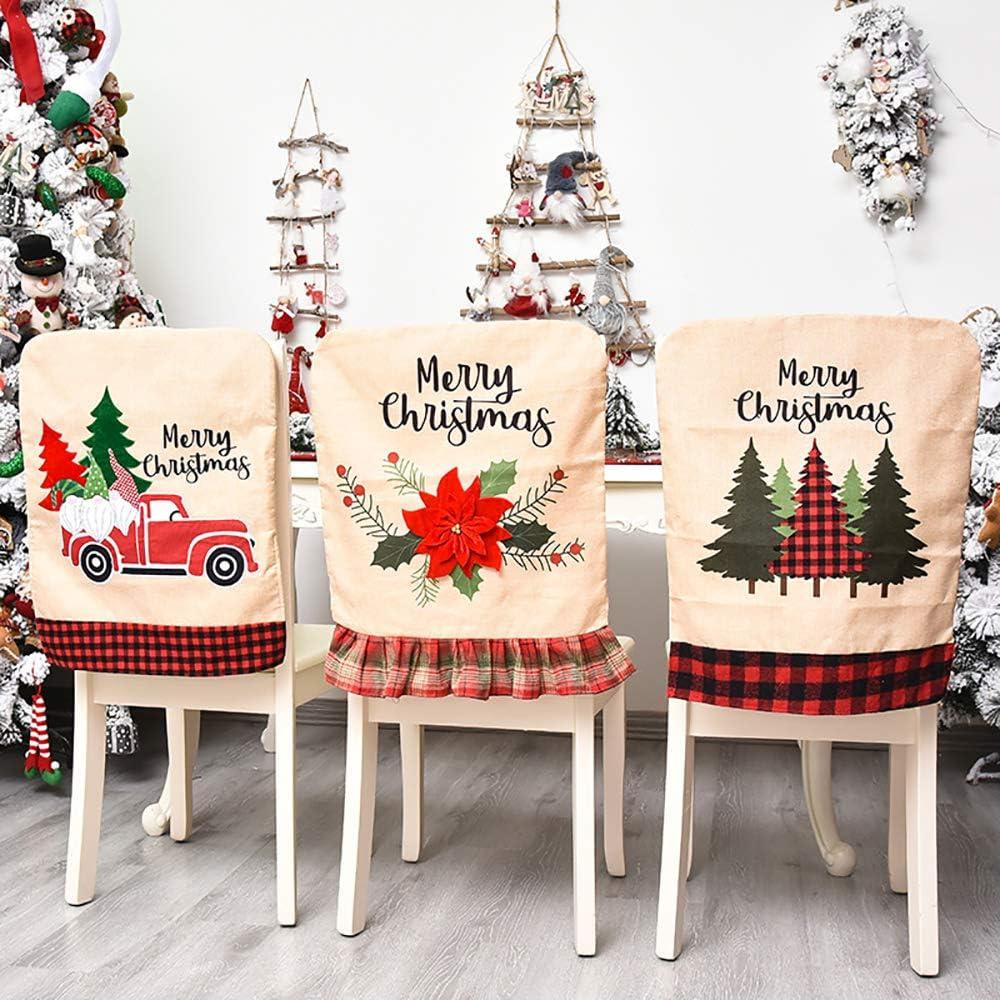 Jhua Christmas Back Chair Cover Set of 3 Pcs Dining Room Chair Covers for Christmas Linen Dining Chair Back Covers Christmas Tree Flower Dinner Chair Covers for Xmas Banquet Kitchen Dining Room Decor